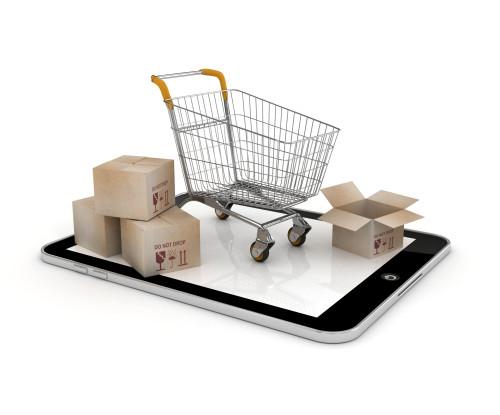Bild Smartphone mit Einkaufswagen