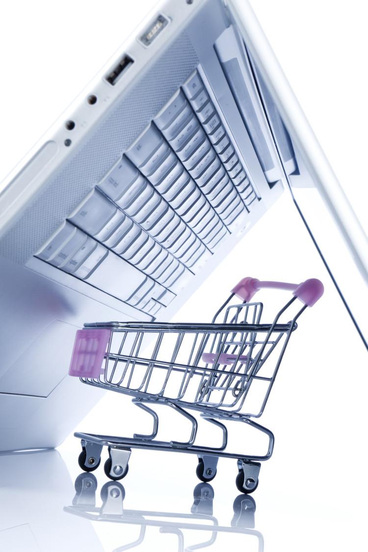 Bild Laptop mit Einkaufswagen